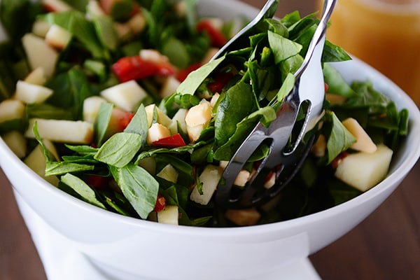 Chopped Spinach Salad with Smoked Gouda