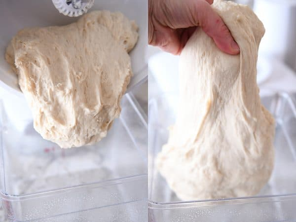 Stretching dough for cinnamon rolls.