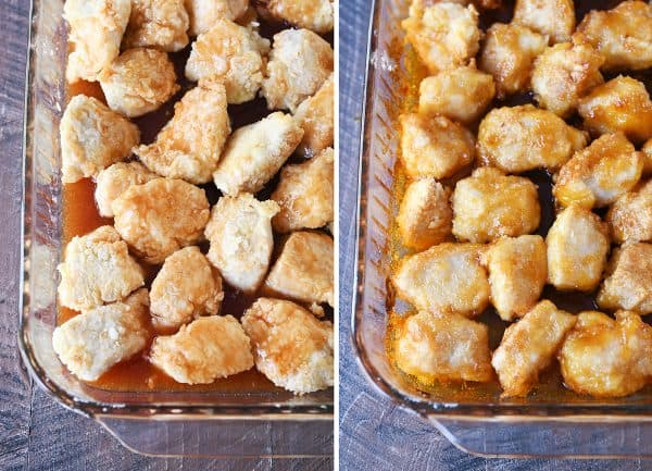 Side by side pans of unbaked and baked sweet and sour chicken.