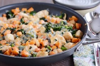 Cheesy Chicken, Kale and Sweet Potato Skillet Meal
