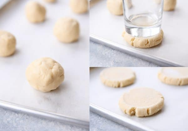 Step by step of cookie dough, pressing with a glass.