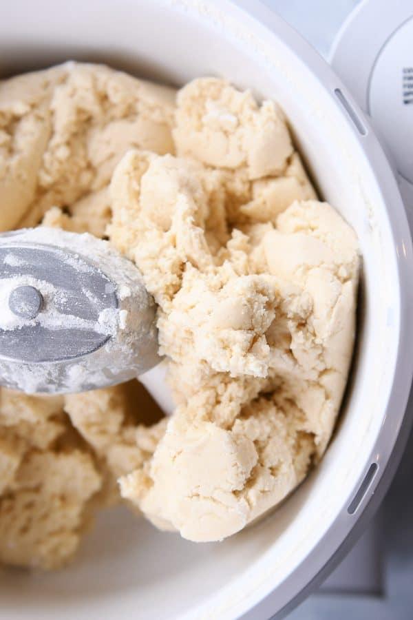 Sugar cookie dough in Bosch mixer.