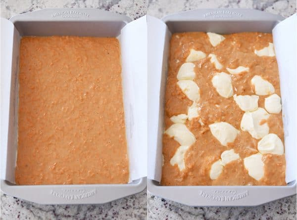 Side by side pans of unbaked and baked swirled carrot cake cheesecake bars.