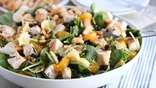 Mandarin Spinach Bowtie Pasta Salad with Teriyaki Dressing