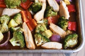 Teriyaki sheet pan dinner loaded with vegetables.