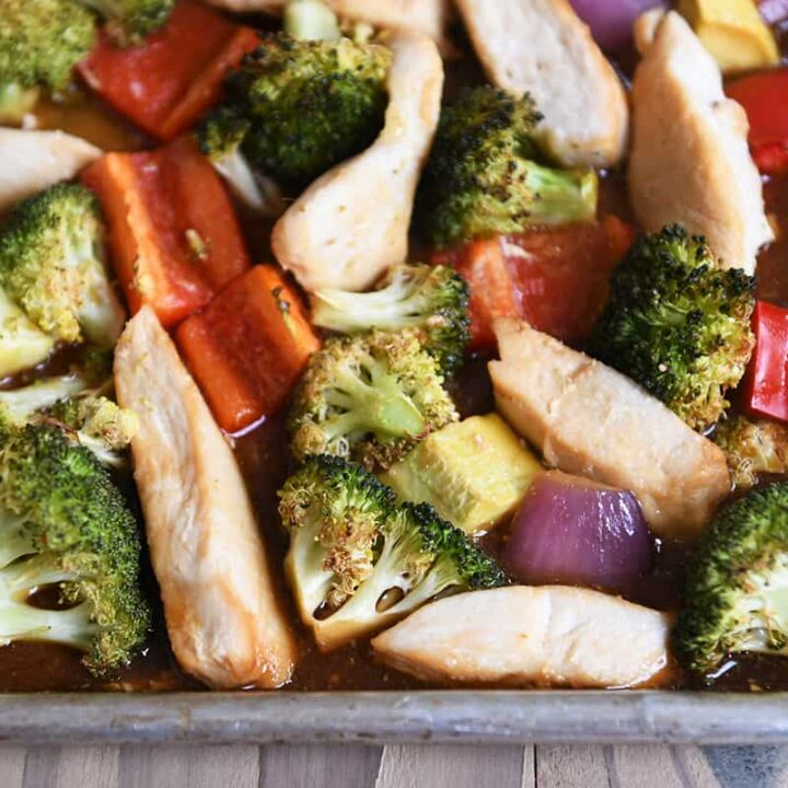 Teriyaki sheet pan dinner loaded with vegetables.