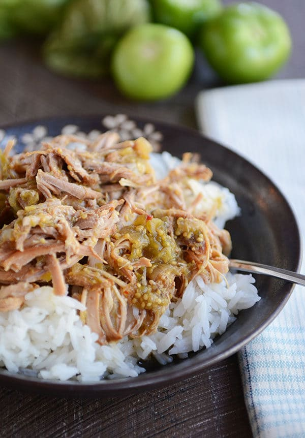 A dark bowl of rice and shredded pork with tomatillo sauce on top.