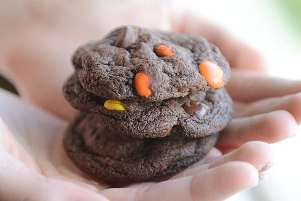 Triple Chocolate Fudge PB Cookies