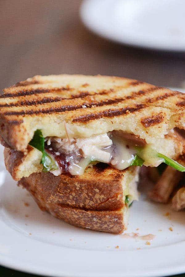 A grilled turkey and cranberry panini on a white plate.
