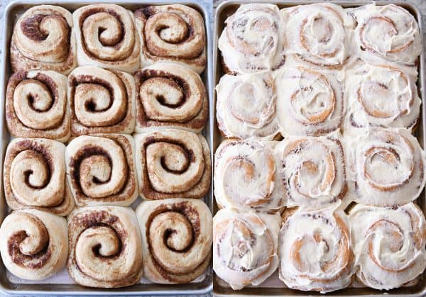 Side by side of unfrosted and frosted cinnamon rolls.