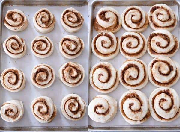 Side by side of unrisen and risen cinnamon rolls.