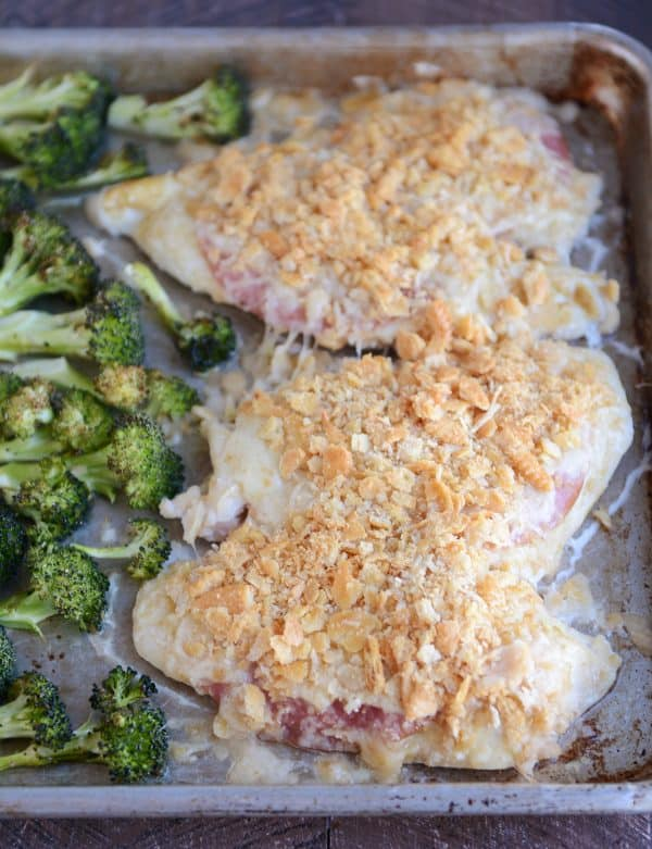 Sheet pan chicken cordon bleu with ritz cracker topping.