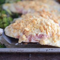 Unstuffed Chicken Cordon Bleu with Roasted Broccoli