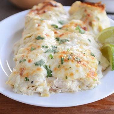 Creamy Green Chile Chicken Enchiladas White Chicken