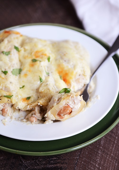 White Chicken Chile Enchiladas