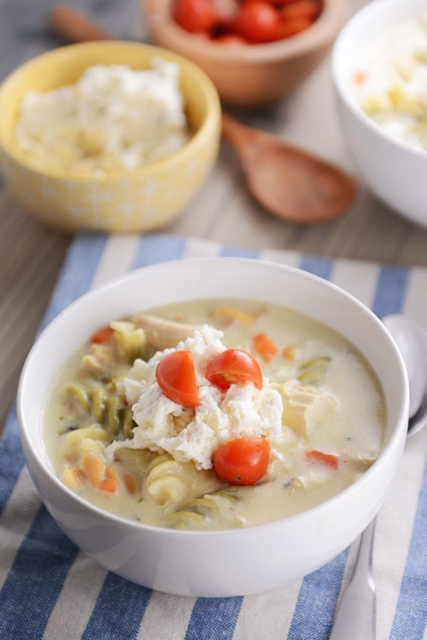 One Pot Creamy White Chicken Lasagna Soup