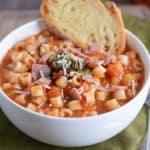 Winter Minestrone Soup with Garlic Bruschetta