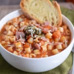Winter Minestrone Soup with Garlic Bruschetta