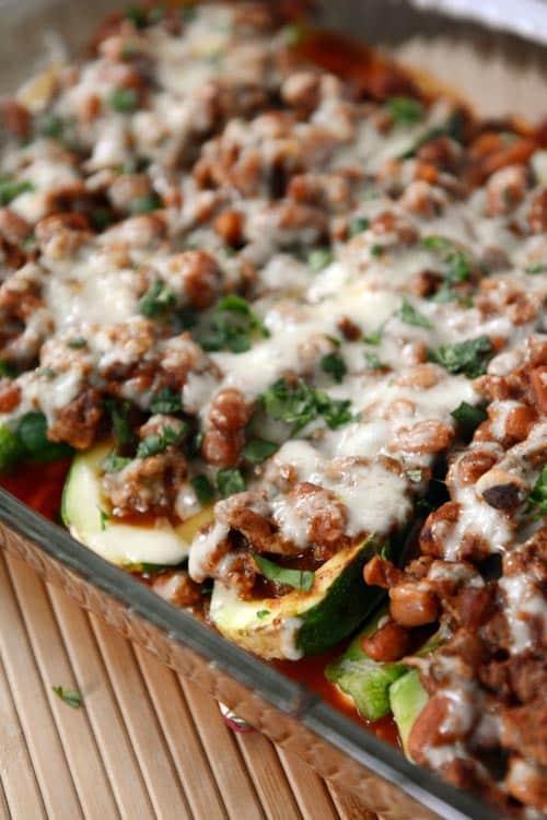 Stuffed Zucchini Enchilada Boats