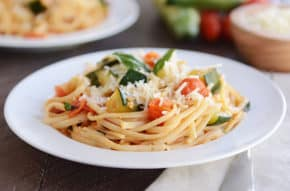 This zucchini and tomato pasta is fresh, delicious, and FAST!